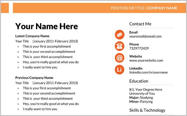 Free Marketing Resume Template | Stephen Murphy's Blog